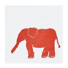 Elephant print, red, wall art, nursery.  Landofnod.com