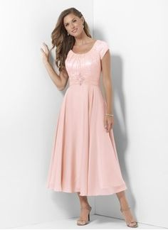 A Line Princess Scoop Neck Tea Length Chiffon Satin Mother Of The Bride Dress With Ruffle Beading Liques Lace