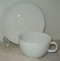 Crate & Barrel Porcelain Roulette White Cup & Saucer Sal Porcelain  ~ This Item is for sale at LB General Store http://stores.ebay.com/LB-General-Store ~Free Domestic Shipping ~