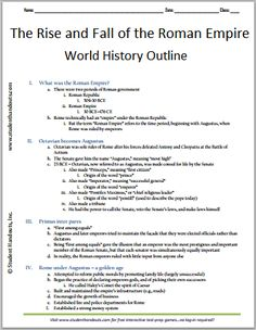 Rise and Fall of the Roman Empire - Free Printable History Outline for Grades 7-12