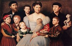 1535 Bernardino Licinio (1489-1565) Arrigo Licinio& His Family The young man holding a statue is similar to his painting A Sculptor in his Studio with Five of his Pupils, One Holding an Armless Statue of Venus, at Alnwick Castle in Northumberland. The young man may have been his nephew Giulio Licino (1527–1584), whom theportraitist trained to become an artist in his own right.
