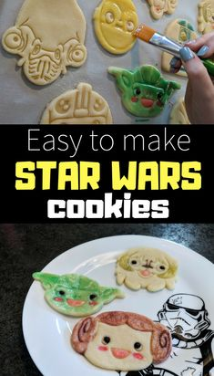 Combine baking and crafting by making these easy Star Wars cookies with your kids. They will love making them. Star Wars Food, Star Wars Cookies, Disney Dinner, Star Wars Crafts, Paint Cookies, Easy Sugar Cookies, Star Wars Party, Food Crafts, Creative Food