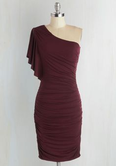 Tasting Room Dress in Wine. Tonight, you experience the winerys finest offerings looking your most fabulous in this burgundy one-shoulder dress. #red #modcloth