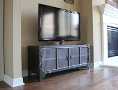 Custom made steel media console from  Modern Industrial Furniture.