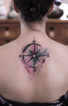 Beautiful watercolor compass back tattoo - 100 Awesome Compass Tattoo Designs  <3 <3