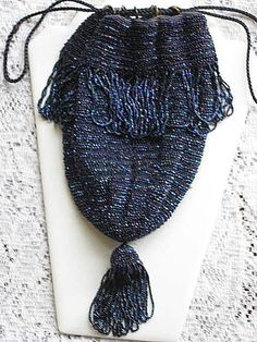 Flavor In Smart Antique Art Nouveau Silver Frame Blue Knit Iridescent Bead Tier Fringe Purse Fragrant