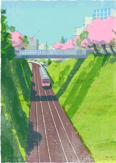 by tatsuro kiuchi Zug Illustration, Train Drawing, Anime Scenery, Illustrations And Posters, Cute Art, Art Inspo, Painting & Drawing, Landscape, Drawings
