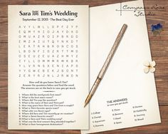 Custom Wedding Game, Crossword and Word Find combo. Personalize it with up to 12 fun questions about you, your beloved and your Big Day!