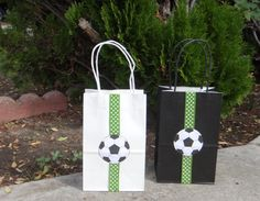 Soccer Birthday Party Theme Favor Bags by FantastikCreations Soccer Party Favors, Soccer Birthday Parties, Sports Birthday, Birthday Party Themes, Boy Birthday, Sports Party, Theme Sport, Soccer Theme, Festa Do Real Madrid