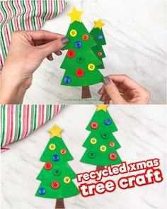 Recycled Christmas Tree Craft For Kids Turn that leftover cardboard or old cereal box into a fun and simple DIY ornament for kids! This Christmas tree craft is easy and great for preschool, kindergarten and elementary children! Recycled Christmas Tree, Childrens Christmas Crafts, Potted Christmas Trees, Christmas Crafts For Kids To Make, Christmas Activities For Kids, Christmas Paper Crafts, Diy Christmas Ornaments, Kids Christmas, Popsicle Stick Christmas Crafts