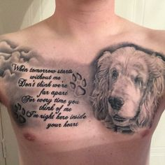 Dog tattoo chest piece paw print black and grey