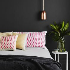 On The Sly hand screen-printed Aztec Cushion Neon Pink. As seen on Channel 9's hit TV Show, The Block.