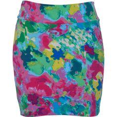 Rose Print Mini Skirt ($31) ❤ liked on Polyvore