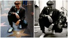 The original pic on the right is from the studio where he recorded Hound Dog in 1956.  This has been photoshopped onto his Hollywood Hall of Fame star which he received in 1960 as one of the first eight people to be honoured.