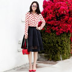 Topshop Heart Print Shirt, Heart Print shirt, Topshop style, Valentine's Day outfit, Chanel boy bag in red, CHICWISH Shield Cutout Airy Pleated Skirt in Black, Banana Republic Delphine Pump, red pump, in red, People by People sunglasses, Valentines's Day outfit idea