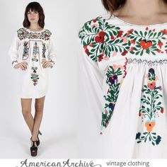 Vintage Oaxacan Dress Mexican Dress Mexican Wedding Dress Boho Dress Hippie Dress Hippy Dress Festival Dress Embroidered Dress Ethnic Dress by AmericanArchive on Etsy https://www.etsy.com/listing/251277123/vintage-oaxacan-dress-mexican-dress