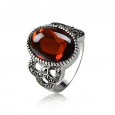 Vintage Red Cubic Zirconia 925 Sterling Silver Ring For Women - USD $86.95