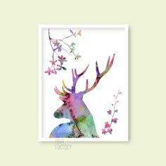 Watercolor printable, Deer / botanical silhouette printable wall art / home decor