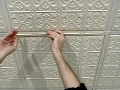 Suspended Ceiling Grid Covers - DIY. Great idea for my basement that has a drop ceiling.
