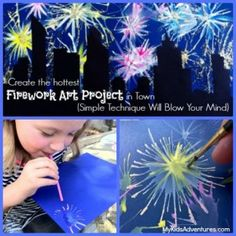 easy paintings Want to create the explosive effects of fireworks in paint? This unique kids' art project will blow you away. It's easy to paint fireworks and city skylines. Fireworks Craft For Kids, Fireworks Art, Fourth Of July Crafts For Kids, Projects For Kids, Kids Crafts, Art Projects, Arte Elemental, Firework Painting, Kid Painting