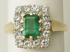 0.82 ct Emerald and 0.88 ct  Diamond, 18 ct Yellow Gold Dress Ring - Vintage Circa 1970  SKU: A1154 Price    GBP £1,750.00 #dressring #emeralds #diamond #vintage