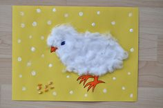 Easter chick cotton balls by SortingSprinkles Daycare Crafts, Preschool Crafts, Christmas Card Crafts, Holiday Crafts, Cotton Ball Crafts, Chicken Crafts, Classroom Art Projects, Easter Art, Easter Ideas