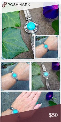 """🌻Tibetan Silver Turquoise Bracelet w/ Round Stone 🌻Tibetan Silver Turquoise Bracelet w/ Square Stone                                                                        🔹lead and nickel free silver alloy metal with simulated sleeping beauty turquoise                     🔹measures 7 1/2"""" long including lobster-claw clasp - stone measures 5/8"""" in diameter 🔹bracelet is adjustable with chain extender                               🔹very versatile, everyday piece🤗 Just be by melaniekaren…"""