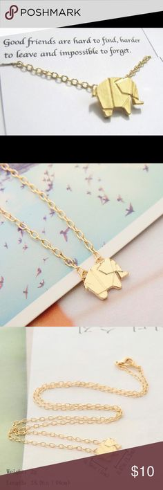 """❤️❤️Cute gold plated origami elephant necklace ❤️""""Jewelry box clean out sale, limited quantity """" Buy any jewelry (earrings/necklace) for 10 dollars and get 1 more any jewelry for just 5 more dollars when you purchase in a bundle, please leave me a comment if you have any question or need help setting up the bundle, and please let me know the colors of the items you want to purchase! Thanks! Jewelry Necklaces"""