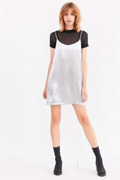 Silence + Noise Satin Shine Mini Slip Dress - Urban Outfitters