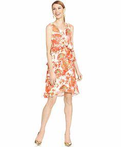 SL Fashions Sleeveless Floral-Print Tiered Dress - Dresses - Women - Macy's
