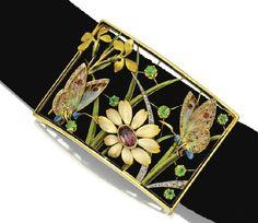 An Art Nouveau gold, diamond, and enamel collier de chien (dog collar) necklace by Henri Dubret, France, circa 1900.