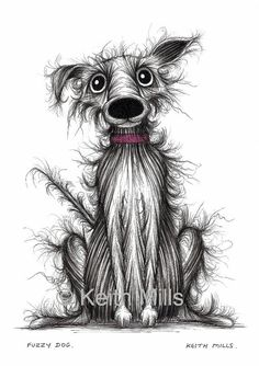 Fuzzy+dog+Print+download+Scruffy+frizzy+little+pet+by+KeithMills