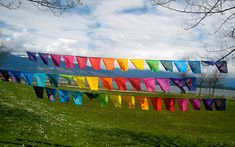 I can imagine these on my porch on a Sunny Sunday morning as I sip coffee on my glider bench and wave to passersby. First Love Meaning, Flag Garland, Bunting, Sunny Sunday, Sunday Morning, Prayer Garden, We Are All One, Prayer Flags, First Language