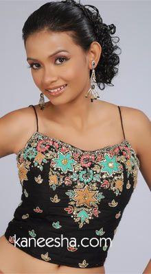Black Silk Embellished Designer Indian Blouse