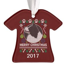 Border Collie Ugly Christmas Sweater Ornament - home gifts ideas decor special unique custom individual customized individualized