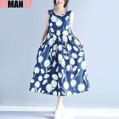 2017 New Big Size Summer Sundress Women Dress Sleeveless Floral Print Linen Sundress Female Casual Beach Large Size Blue Dress #Affiliate