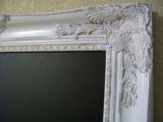 FRAMED CHALKBOARD Shabby Chic Frames-Weddings-Restaurant-Kitchen-Menu-Signs-Large White Ornate Vintage Frame Chalkboard-Magnetic Chalkboard. $195.00, via Etsy.