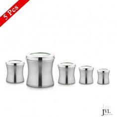 JVL Stainless Steel Belly Tin Canister Set of 5 Pcs Buy Kitchen, Kitchen Items, Kitchen Utensils, Storage Sets, Storage Containers, Canister Sets, Canisters, Kitchenware, Tableware