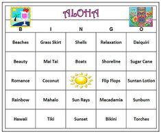 Aloha Luau Hawaiian Party Bingo Game 60 by BuyMeSomeHappiness