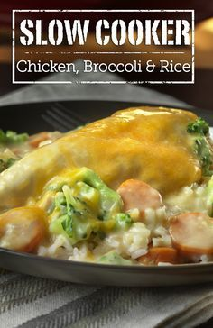 Slow Cooker Chicken, Broccoli & Rice - Boneless chicken breasts, white rice, carrots and broccoli are slow cooked in a delicious creamy sauce. Prep it before you leave for work and you'll come home to a delicious meal that's ready to serve. Slow Cooker Huhn, Crock Pot Slow Cooker, Slow Cooker Chicken, Slow Cooker Recipes, Crockpot Recipes, Cooking Recipes, Crockpot Chicken Broccoli Rice, Chicken Rice, Crockpot Boneless Chicken Recipes