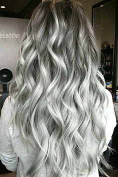 Trendy Hair Color Picture DescriptionA silver hair color is our future. That is why we have created a photo gallery featuring the sassiest looks with silver and we will also help you learn how to get and then how to maintain a super-chic silver hair hue. Beautiful Hair Color, Cool Hair Color, Charcoal Hair, Hair Color 2017, Silver Grey Hair, Hair Shades, Ombre Hair, Wavy Hair, Grunge Hair