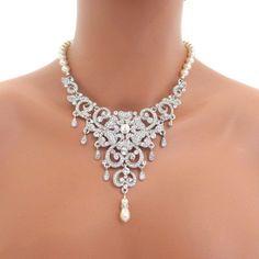 Bridal statement necklace, Wedding jewelry, Rhinestone necklace, Pearl necklace, Bib style necklace