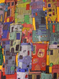 We looked at the Scottish artist George Birrell for inspiration for these coloured castles. Group Projects, School Art Projects, Abstract Paintings, Abstract Art, Art Cube, Illustration Art, Illustrations, Children Activities, Learn Art