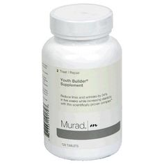 Murad Youth Builder Supplement, Step 2 Treat/Repair, Tablets, 120 tablets by Murad. $41.95. Helps maintain skin's barrier function. Scientifically proven complex. Encourages skin's radiance. Increases youthfulness and elasticity. Reduces fine lines and wrinkles by 34% in 5 weeks. Reduce lines and wrinkles by 34% in five weeks while increasing elasticity with this scientifically proven complex. Murad Internal Skincare Supplements are designed to improve the healt...