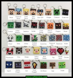 Minecraft Inspired Key Chains / Key Rings perler beads by NinjaMonkeys Perler Bead Designs, Hama Beads Design, Hama Beads Patterns, Beading Patterns, Perler Beads, Perler Bead Art, Fuse Beads, Mobs Minecraft, Minecraft Beads
