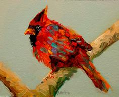 Daily Painters Abstract Gallery: ARTOUTWEST Diane Whitehead Cardinal Bird Art Oil Painting