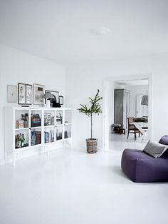 Amazing White Interior Home Design With Luxury White Furniture Interior Decor All White Living Space Interior Design With Purple Seating Decor Ideas And Small Green Plant Home Design, Floor Design, Bed Design, White Interior Design, Home Interior, Interior Livingroom, Modern Interior, Living Room Designs, Living Spaces
