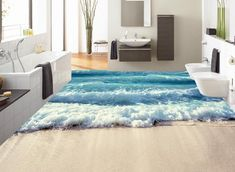 Lqwx Custom 3D Stock Zum Meer Wellen Wallpaper 3D Stock Badezimmer  Selbstklebende Wasserfeste Tapeten Pvc