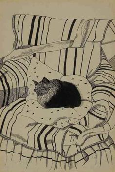 The Sleeping Cat - Lucian Freud (b. The Sleeping Cat signed 'Lucian Freud' (lower left) ink and pencil on paper laid down on card x x Executed circa 1944 Art And Illustration, Illustrations, Cat Drawing, Painting & Drawing, Lucian Freud, Sigmund Freud, Cat Art, Oeuvre D'art, Art History