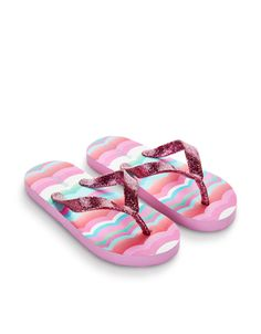 Wavy Stripe Glitter Flip Flops